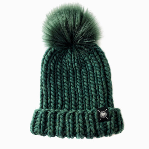 Merino Folded Brim Faux Fur Pom-Pom Beanie  in Enchanted Forest