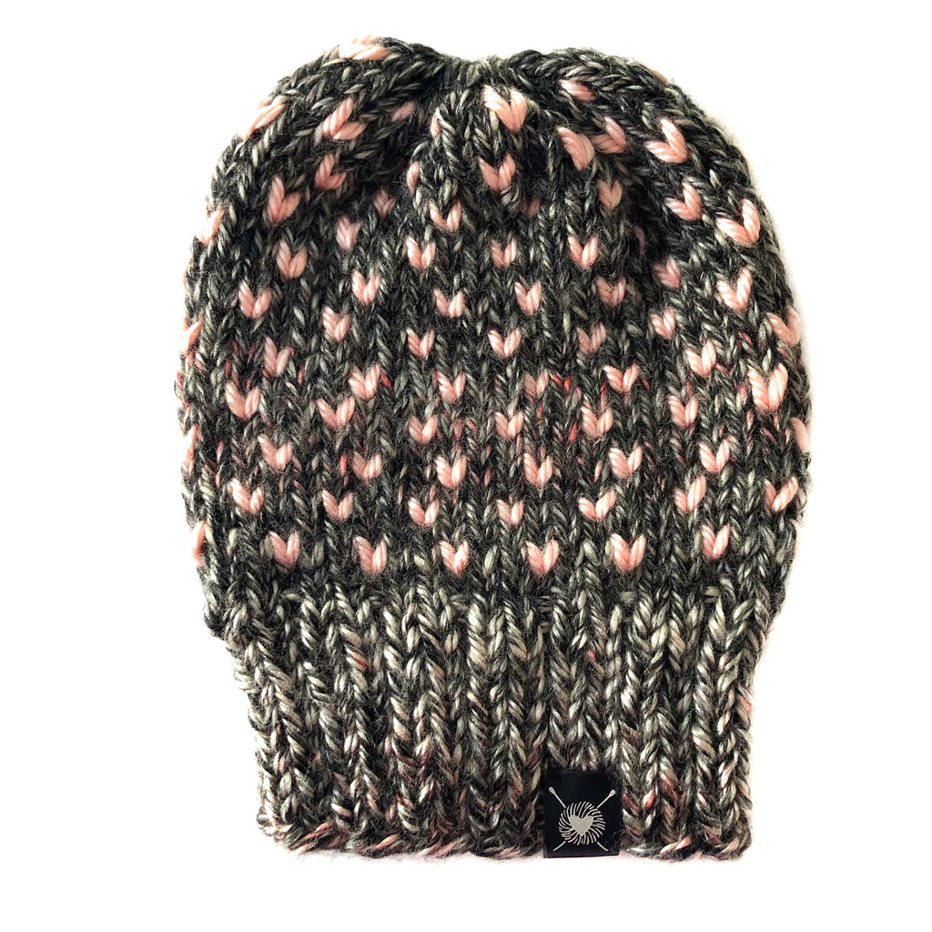 Tiny Hearts Slouchy Beanie in Blushing(wool free)
