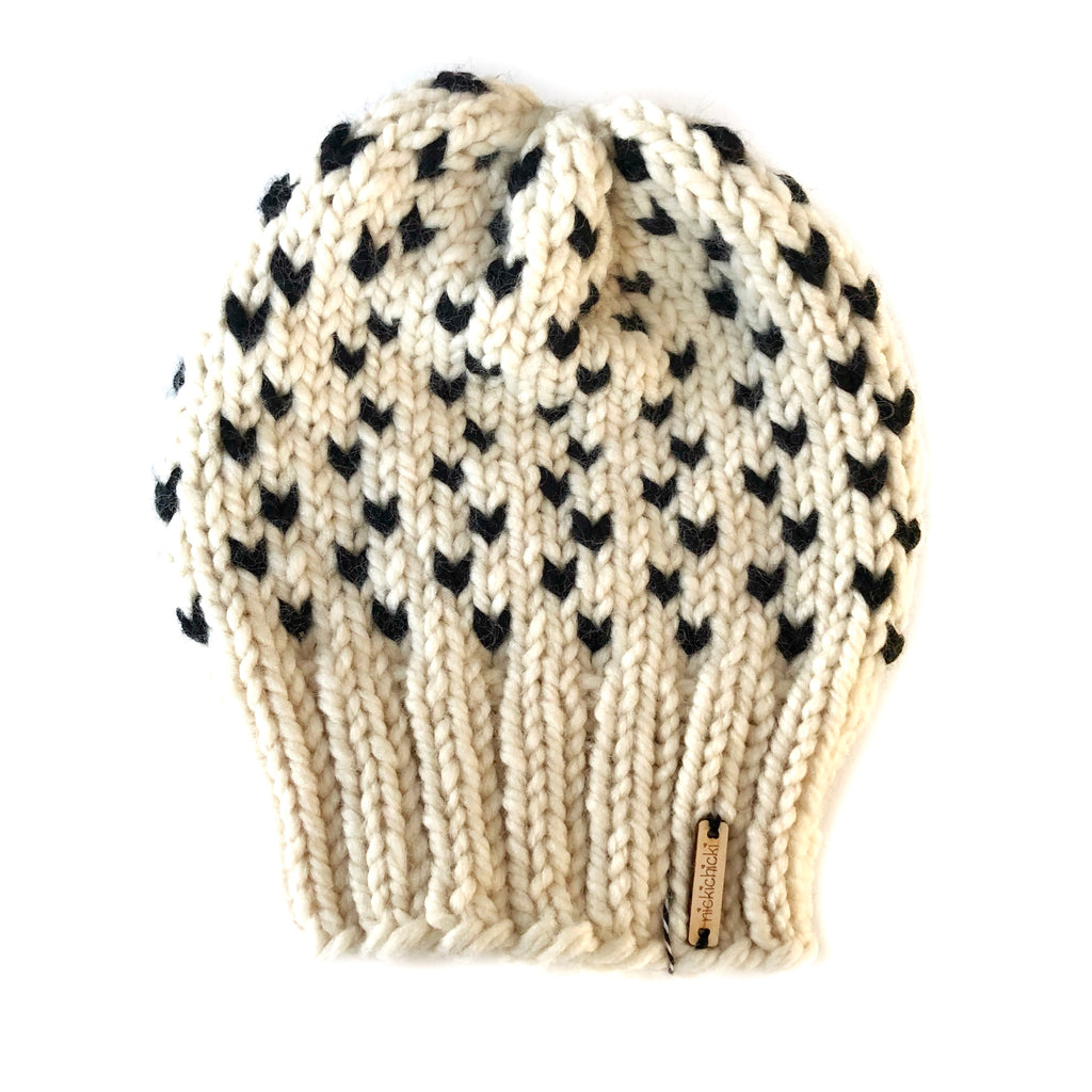 Tiny Hearts Slouchy Beanie in Negative Space, Beanie, Nickichicki - Nickichicki