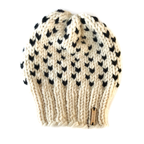 Tiny Hearts Slouchy Beanie in Negative Space
