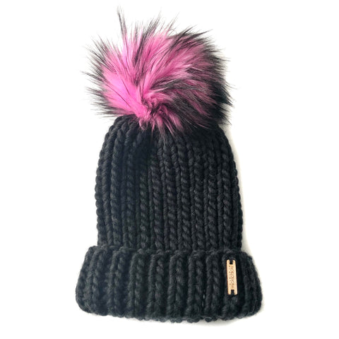 Merino Wool Folded Brim Faux Fur Pom-Pom Beanie  in Almost Black + Twisted Bubblegum, Beanie, Nickichicki - Nickichicki