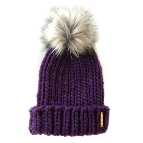 Merino Wool Folded Brim Faux Fur Pom-Pom Beanie  in Blackberry + Fox, Beanie, Nickichicki - Nickichicki