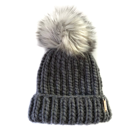 Merino Folded Brim Faux Fur Pom-Pom Beanie  in Charcoal + Fox