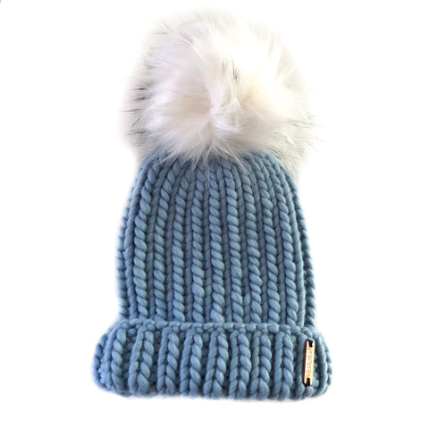 Merino Folded Brim Faux Fur Pom-Pom Beanie in Blue Shadow + White