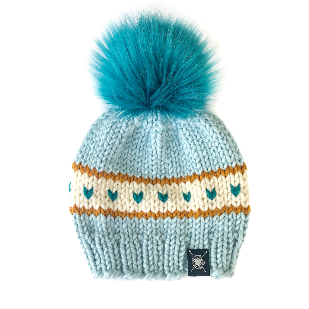 Stripes + Tiny Hearts Faux Fur Beanie in Icecap