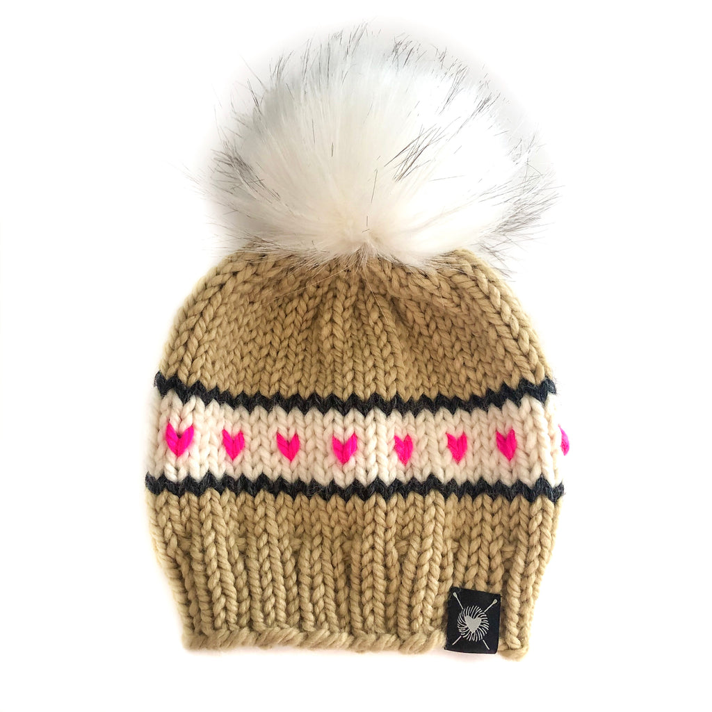 PRE-ORDER : Stripes + Tiny Hearts Faux Fur Beanie in Tres Chic