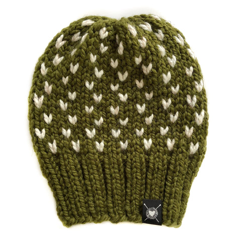 Tiny Hearts Slouchy Beanie in Army of Me