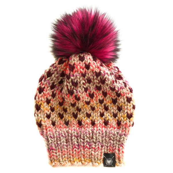 Tiny Hearts Slouchy Faux Fur Beanie in Gettin' Spicy