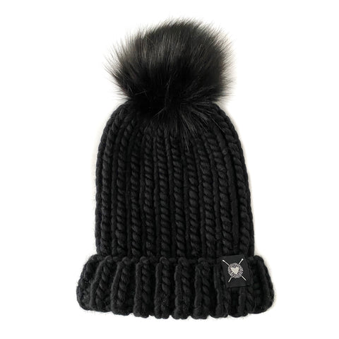 Merino Folded Brim Faux Fur Pom-Pom Beanie  in Blackout