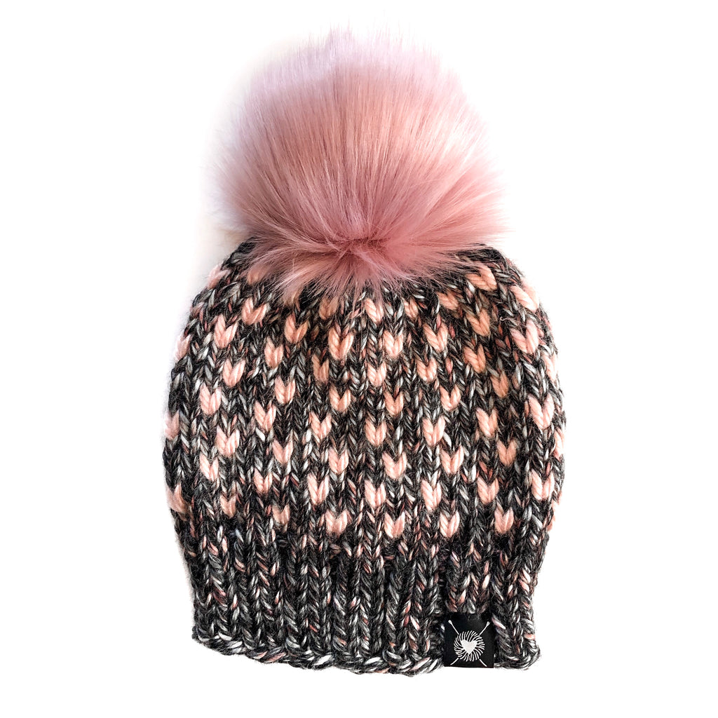 Tiny Hearts Faux Fur Pom-Pom Beanie in Blushing Rosé(wool free)