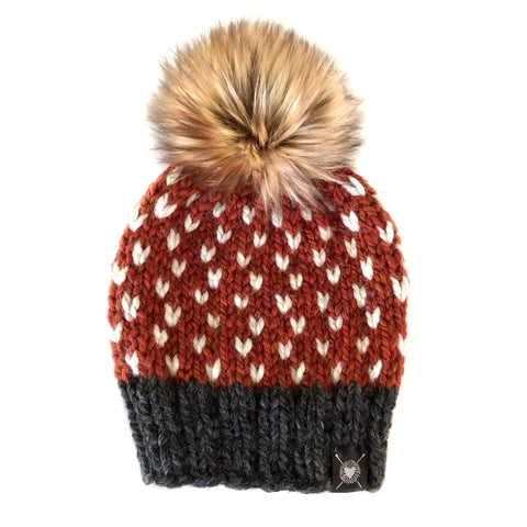 0797b24c1168d8 Tiny Hearts Faux Fur Beanie in Through the Leaves