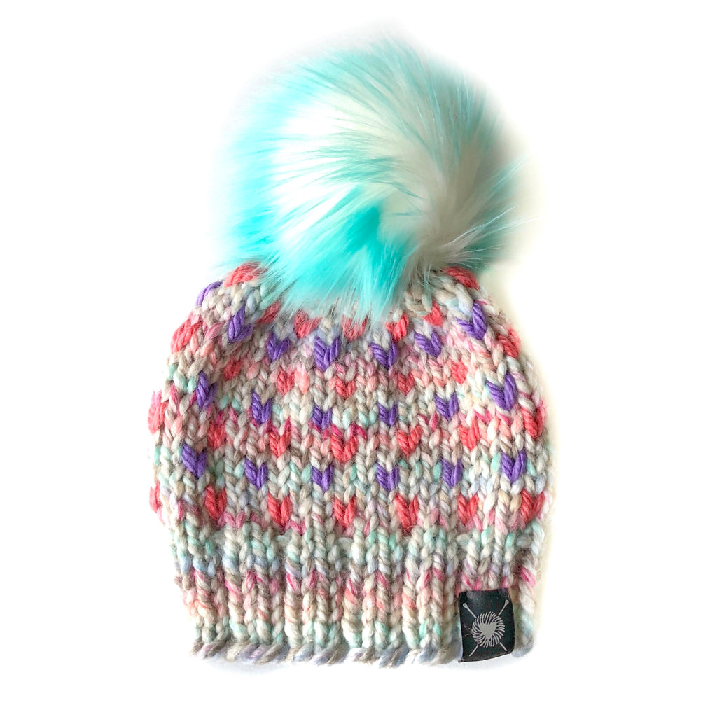 Tiny Hearts Faux Fur Pom-Pom Beanie in Carnival