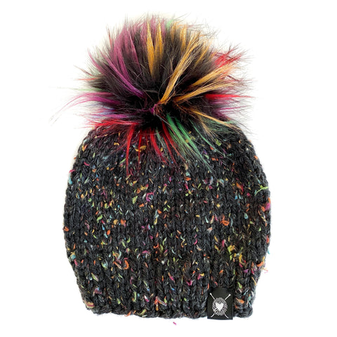 PRE-ORDER: Solid Tweed Faux Fur Pom-Pom Beanie in Dark Rainbow(wool free)