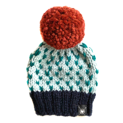 Tiny Hearts Pom-Pom Beanie in Hot and Cold