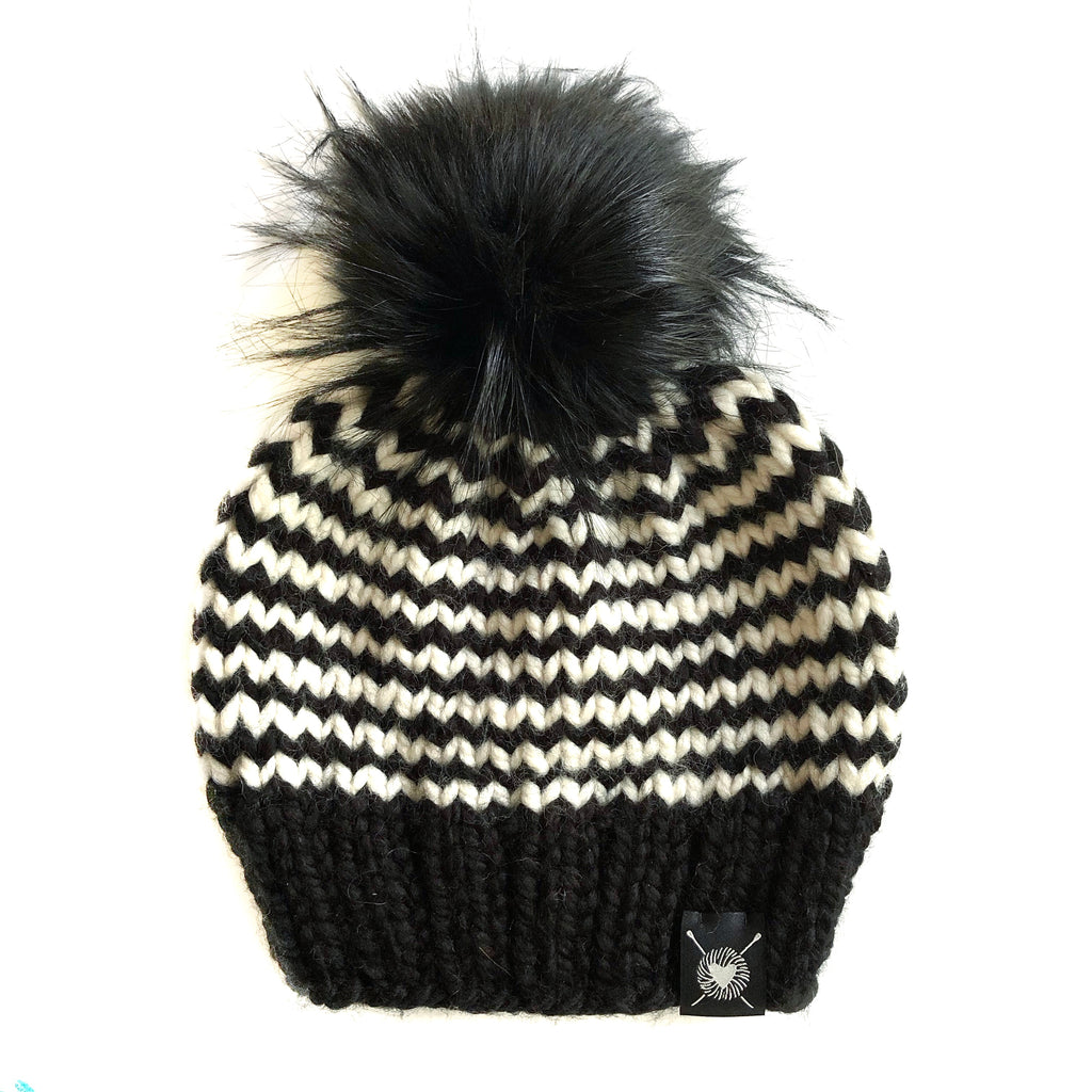 Skinny Stripe Faux Fur Pom-Pom Beanie in Zig and Zag