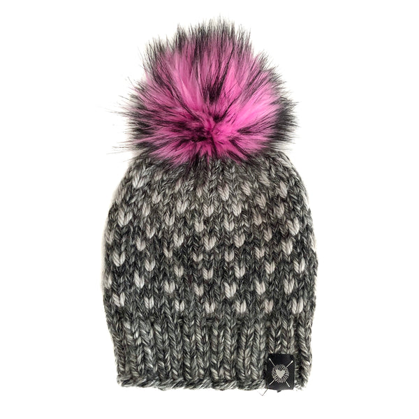 Tiny Hearts Faux Fur Pom-Pom Beanie in It's Electric(wool free)