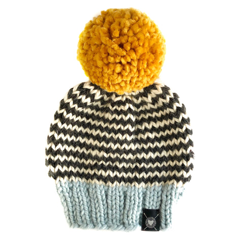 Skinny Stripe Pom-Pom Beanie in Lucky Star