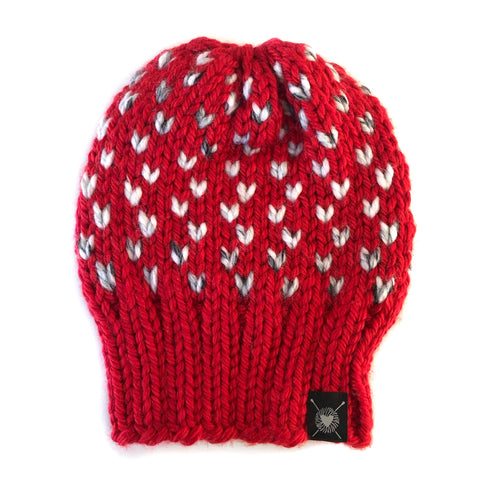 Tiny Hearts Slouchy Beanie in XOXO Slouch