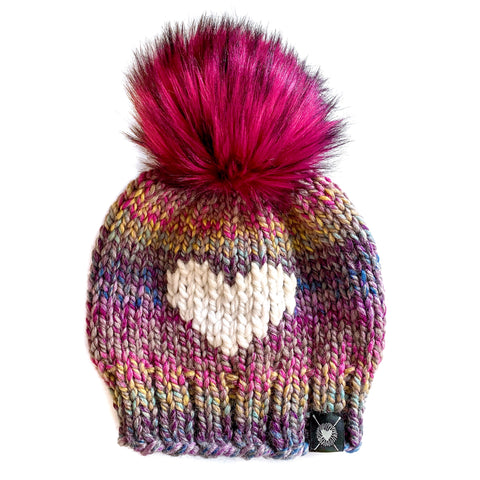 Big Heart Faux Fur Pom-Pom Beanie in Astroland Love