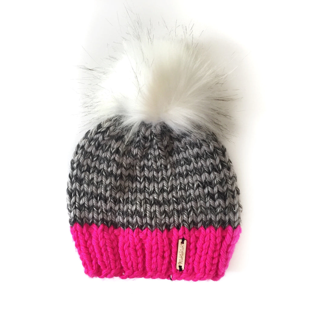 Skinny Stripe Faux Fur Pom-Pom Beanie in Shockingly Sweet(wool free), Beanie, Nickichicki - Nickichicki