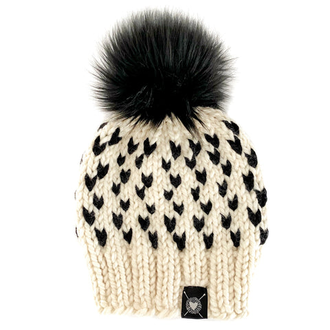 Tiny Hearts Faux Fur Pom-Pom Beanie in Negative Space