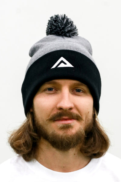 Black/Grey/White Pom-Pom Hat