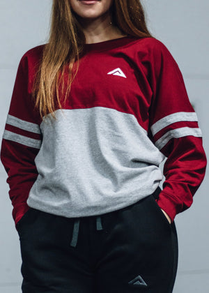 Garnet/Oxford Women's Long Sleeve