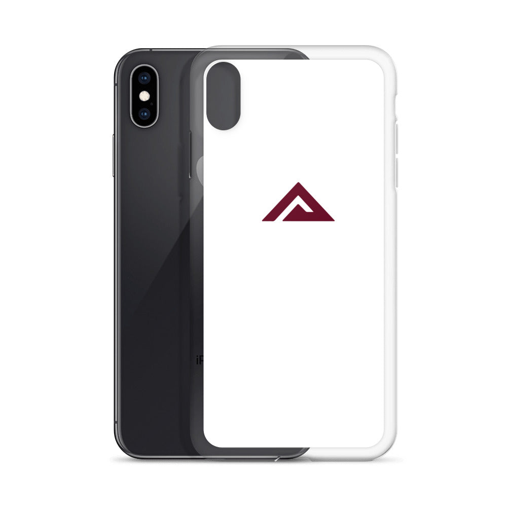 White iPhone Case - maroon logo