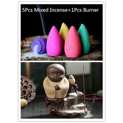 Little Monk with Incense Aromatherapy Cones (5 Pieces Set) - Toynana.com