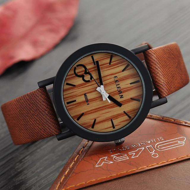Elegant Leather Strap Wooden Watch
