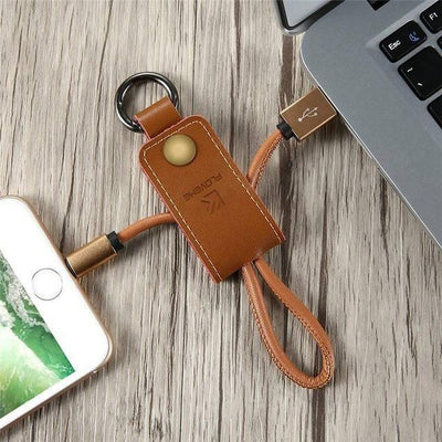 Fast Charging Micro USB for iOS / Android - Genuine Leather Keychain - Toynana.com
