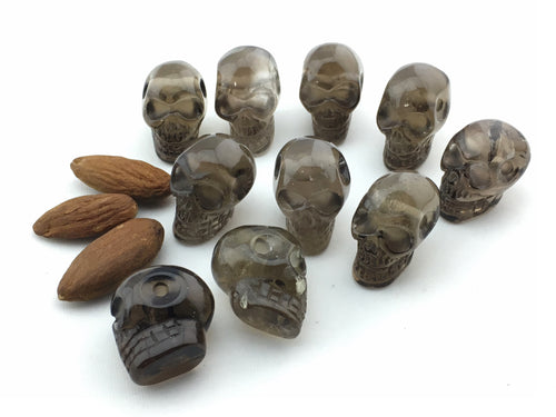 Quartz:  Smoky: Skulls, Drilled , 10pcs./package