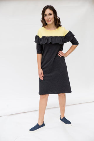 The Ruffle Dress - Yellow & Dark Gray