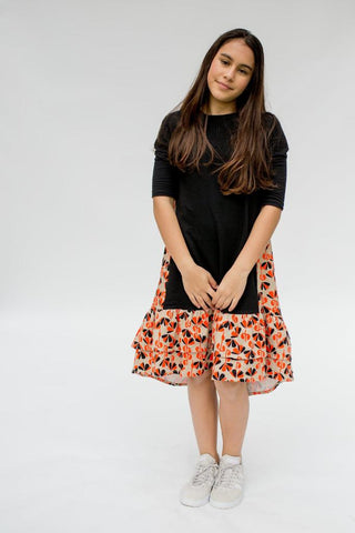 Miki Dress - Orange & Black