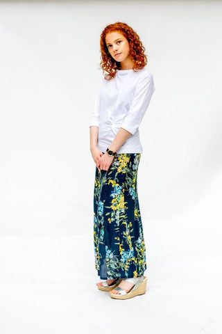 The Maxi Skirt Navy Floral