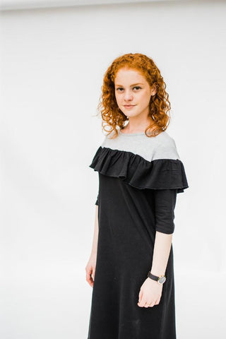 The Ruffle Dress - Grey & Black