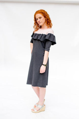 The Ruffle Dress - Pink & Gray