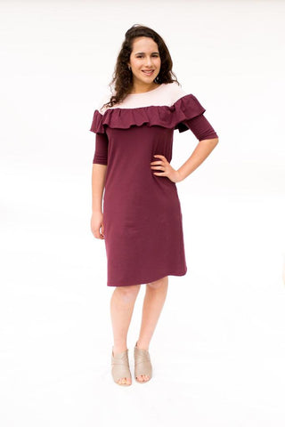 The Ruffle Dress - Baby Pink & Burgundy