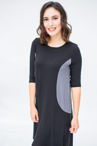 The Swing Dress - Black with Gray Panels