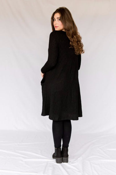 Nursing Pocket Swing - Black Textured Sweater Knit