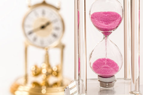 Pink Hour Glass and Gold Watch