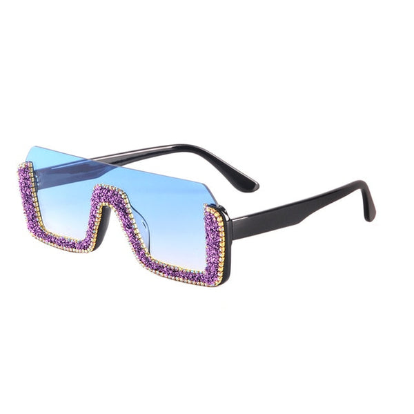 Diamond Semi-Rimless Square Sunglasses
