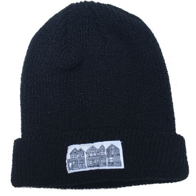 Black Victorian Houses Patch Beanie