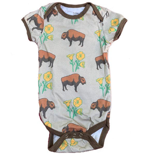Buffalo Poppy Cotton Baby Onesie