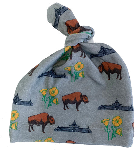 Infant Grey Buffalo Poppy Knot Hat