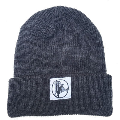 Charcoal Grey With Golden Gate Dino Patch Beanie
