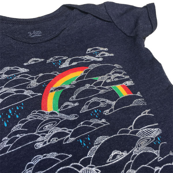 Infant Heather Navy Rainbow Bodysuit Onesie 1