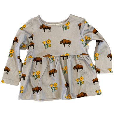 Kids Buffalo With Poppies Slate Grey Cotton Dress