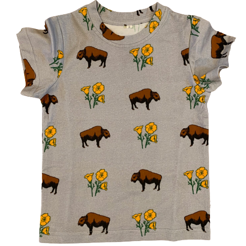 Kids Buffalo With Poppies Grey Cotton Tee