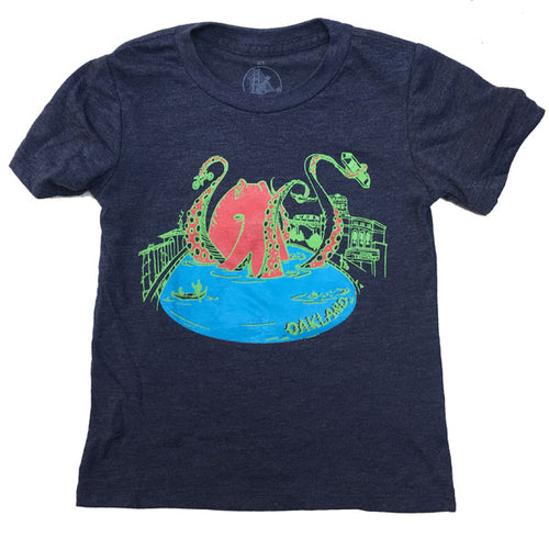 Kids'Heather Navy Octopus on Merritt Tee